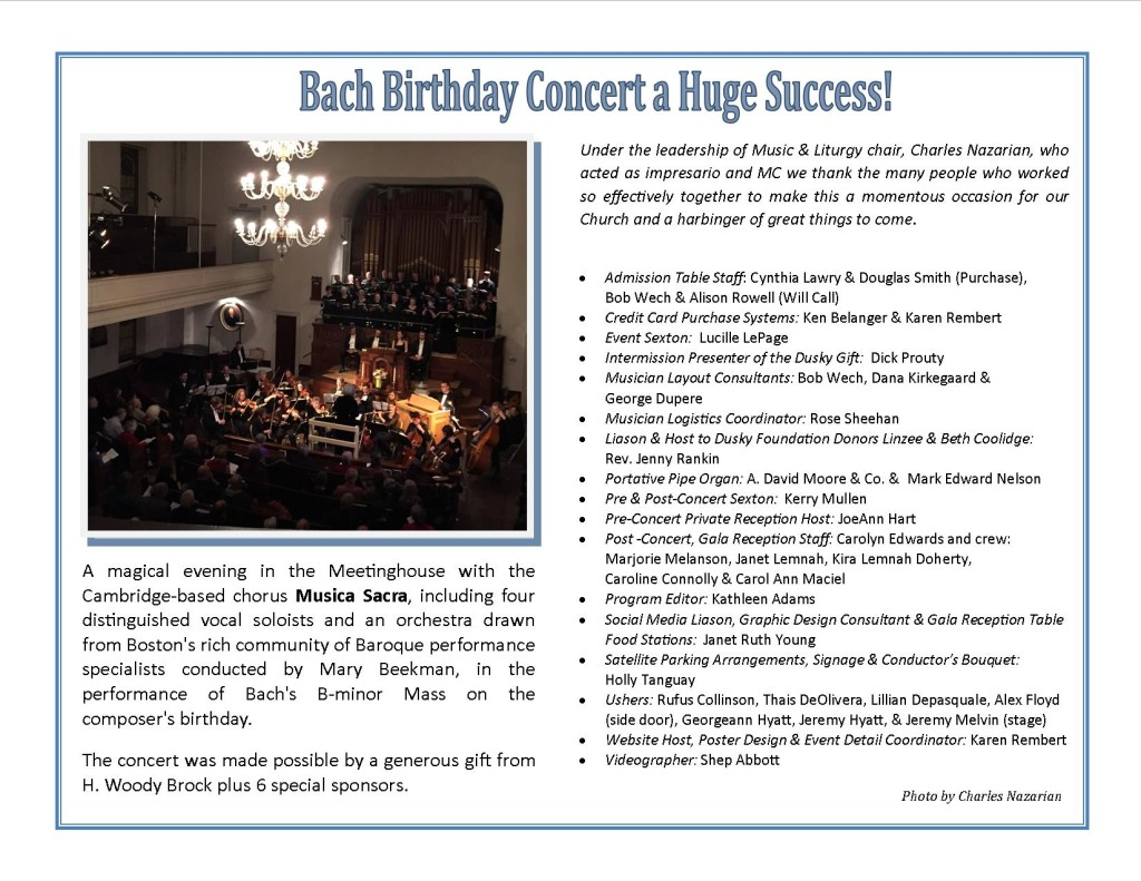 Bach Concert a Success